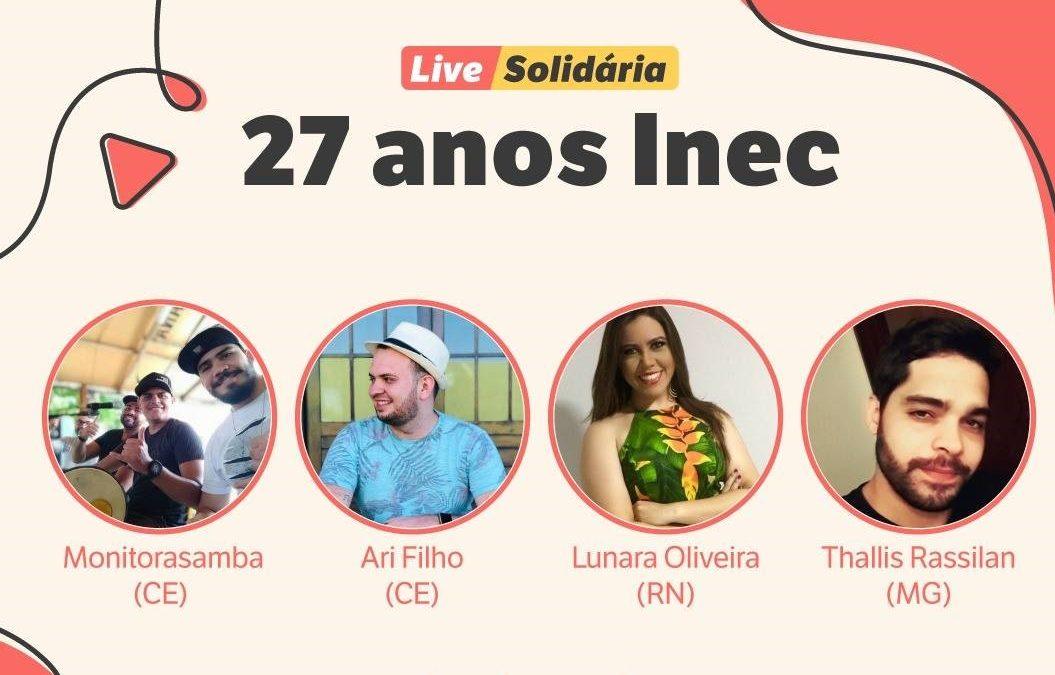 Inec comemora 27 anos com live solidária